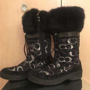 Coach bunny fur boots